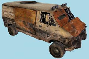 Wrecked Van wrecked, van, military, savage, broken, destroyed, car, vehicle, truck, carriage, old
