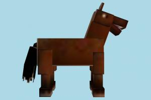 Horse Low-poly Minecraft, horse, animal, low-poly