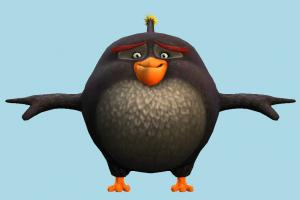 Angry Birds Bomb Angry-Birds, character, bird, cartoon, toony