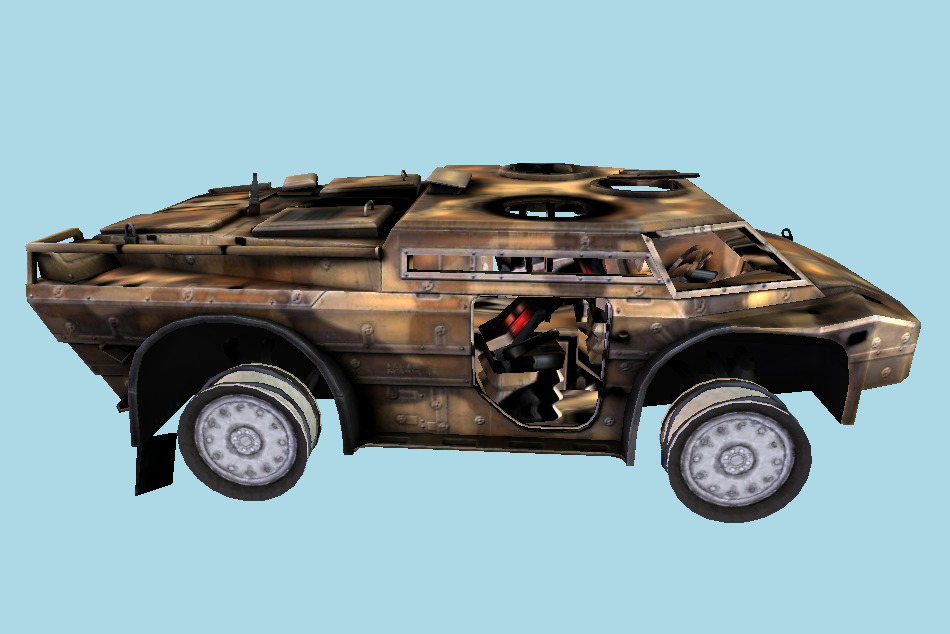 Armored Security Vehicle Tank Damaged 3d model