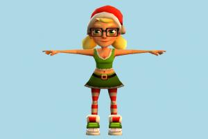 Santa Girl santa, claus, santa-claus, girl, christmas, female, woman, people, human, character, cartoon, nerd