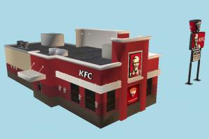 KFC Restaurant restaurant, burger, hamburger, fastfood, automobile, highway, dinner, sandwich, store, travel, meal, service, billboard, public, town, auto, poster, downtown, advertisement, architecture, city, building, street, shop