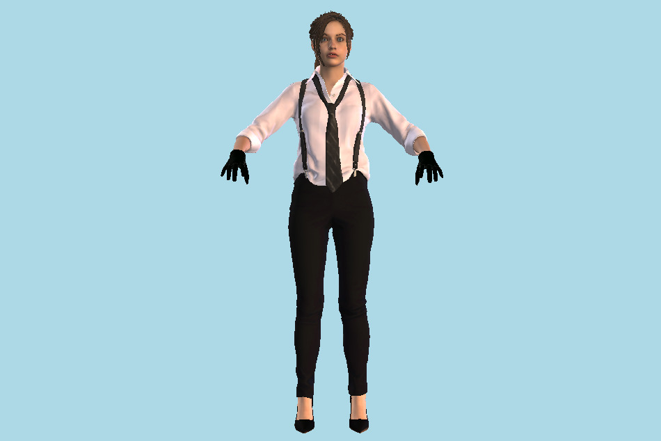Resident Evil Remake Claire Noire Girl 3d model