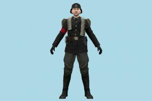 Nazi Soldier commandos, officer, army-man, army, soldier, man, people, human, character