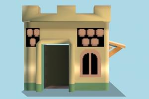 House Low-poly fireplace, house, home, building, build, apartment, flat, residence, domicile, structure, lowpoly