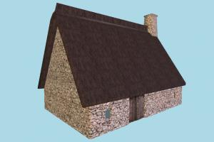 Barn House barn, farm, house, town, country, home, building, build, residence, domicile, structure, lowpoly