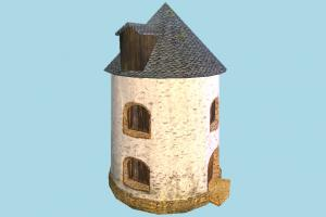 Windmill Building windmill, mill, wind, barn, farm, house, town, country, home, building, build, structure