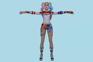 Fortnite Harley Quinn Harley-Quinn, joker, clown, girl, female, woman, people, human, character, cartoon
