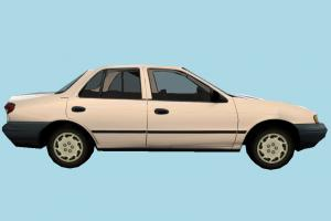 Car Low-poly car, truck, vehicle, transport, carriage, white, kia, sedan, low-poly