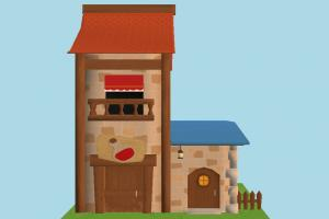 House house, tower, farm, home, building, country, build, residence, domicile, structure, cartoon, lowpoly