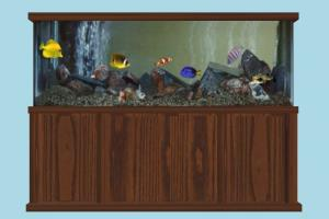 Fish Tank fish, decor, tank, box, water, furniture, lowpoly