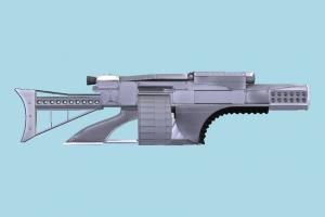 Weapon scifi, auto-gun, handgun, weapon, gun, firearm, arm