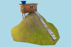 Mountain House mountain, hill, house, home, store, stairs, stairway, way, farm, country, hut, cottage, structure, lowpoly