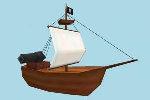 Pirate Ship galleon, pirate-ship, boat, sailboat, pirate, ship, watercraft, vessel, wooden, maritime, lowpoly, cartoon