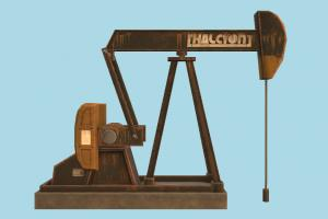Mining Pump mining, pump, oil, device, abandoned, post-apocalyptic, machine, nodding, petrolium, industrial, lowpoly