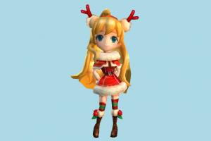 Ellia Santa Girl santa, claus, santa-claus, christmas, girl, female, woman, people, human, character, cartoon