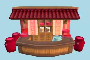 Shop shop, market, selling, street, building, build, structure, cartoon, lowpoly