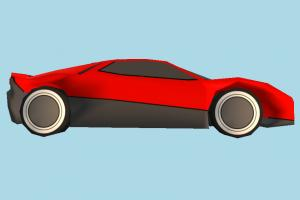 Ferrari Low-poly ferrari, racing, Eric, Clapton, car, race, vehicle, speed, truck, carriage, red, cartoon, low-poly