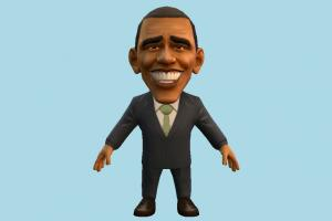 Obama caricature, cartoon, toony, chibi, toy, business-man, politician, president, obama, usa, america, lowpoly, man, male, people, human, character