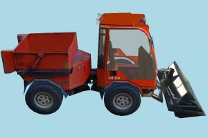 Bulldozer tractor, bulldozer, truck, vehicle, low-poly