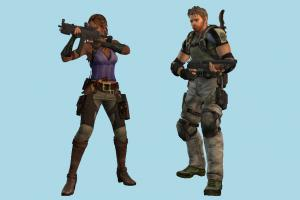 Resident Evil 5 Resident-Evil, soilder, army, army-man, man, male, girl, female, woman, people, human, character