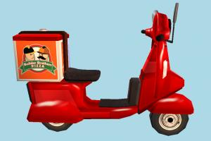 Pizza Delivery Bike Roblox, pizza, delivery, vechicle, cartoon, motorbike, bike, motorcycle, motor, cycle, low-poly