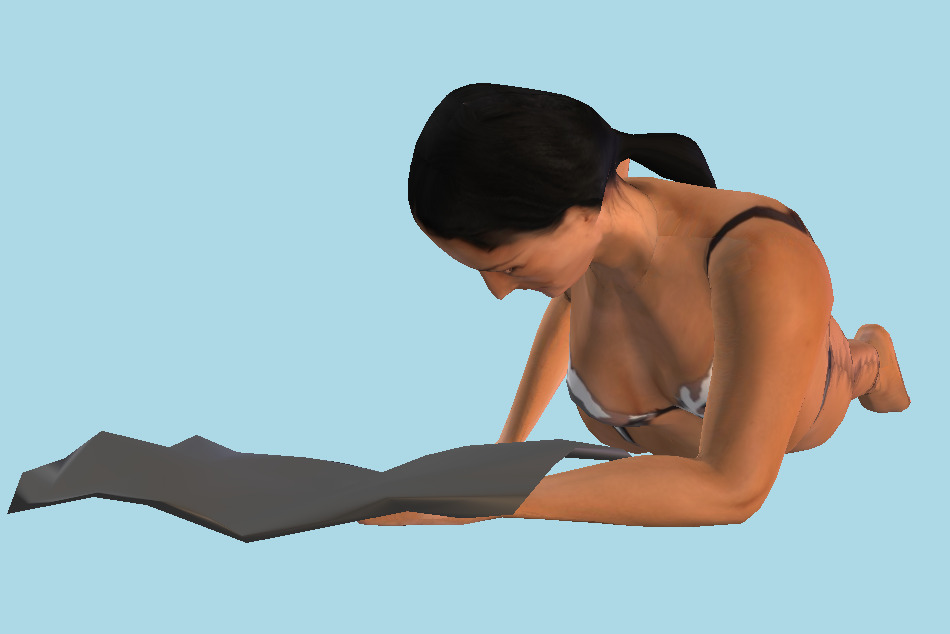 Beach Woman Reading 3d model