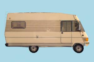 Old Van Low-poly van, vehicle, truck, carriage, car, bus, metro, transit, transport, old, low-poly