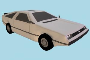 Car Low-poly delorean, car, cartoon, toon, truck, vehicle, transport, carriage, dodge, low-poly