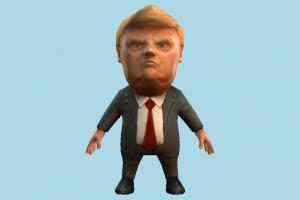 Donald Trump caricature, cartoon, business-man, toony, chibi, toy, politician, president, donald, trump, usa, america, lowpoly, man, male, people, human, character