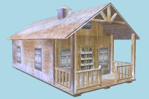 House hut, cottage, shanty, shack, small, house, home, snow, lowpoly