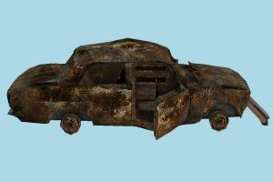 Car Scrap scrap, wrecked, broken, destroyed, damaged, car, vehicle, truck, carriage, old