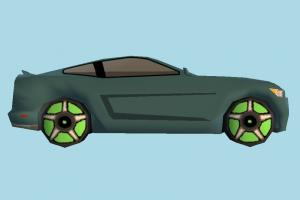 Car Toony car, cartoon, toon, ford, mustang, truck, vehicle, toy, transport, carriage, dodge, challenger, low-poly
