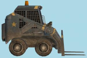 ForkLift Truck forklift, fork-lift, fork-truck, construction, truck, vehicle, carriage, wagon, low-poly