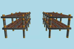 Rack table, shelf, rack, chair, wooden, stock