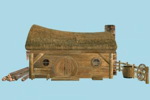 Cottage House barn, farm, hut, wood, cutter, workshop, cottage, house, town, country, home, building, build, residence, domicile, structure