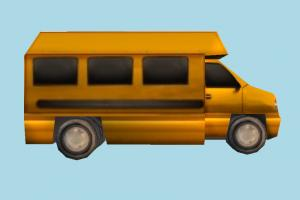 Low-poly Bus bus, van, car, vehicle, truck, carriage, metro, transit, toon, low-poly
