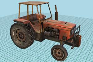 Farm Tractor Low Poly