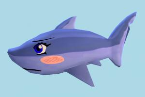 Shark shark, fish, sea-creature, fishing, sea, cartoon, lowpoly, toony