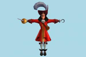 Captain Hook pirate, horseman, soilder, male, man, people, human, character, cartoon
