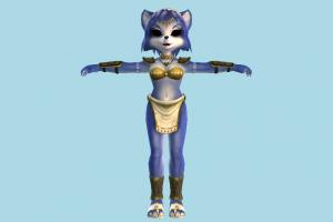 Krystal Cat Girl cat-girl, animal-character, girl, female, woman, people, human, character, cartoon