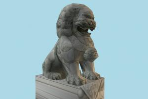 Statue Low-poly statue, sculpture, stone, marble, animal, animals, zoology, zoo, lion, low-poly
