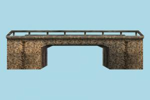 Bridge bridge, viaduct, road, rail, way, wall, gate, structure, lowpoly