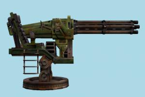 Gatling Gun heavy-gun, auto-gun, weapon, gun, firearm, arm