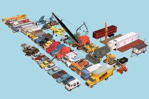 54 Cars and Trucks collection, cars, trucks, planes, motorcycle, pack, package, vehicle, transport, carriage, lowpoly