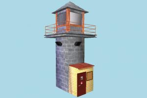Watchtower prison, watchtower, guard, tower, house, build, building, structure