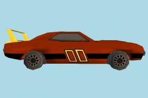 Car Toony car, cartoon, toon, truck, vehicle, toy, transport, carriage, dodge, challenger, low-poly
