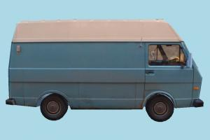 Blue Van van, bus, vehicle, truck, carriage, car, metro, transit, transport, old, low-poly