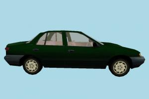 Car Green Low-poly car, truck, vehicle, transport, carriage, green, kia, sedan, low-poly