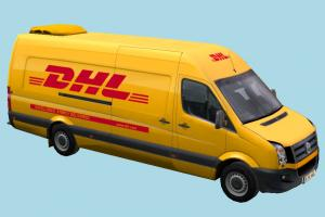 DHL Delivery Bus van, post, volkswagen, delivery, europe, dhl, car, bus, vehicle, truck, carriage